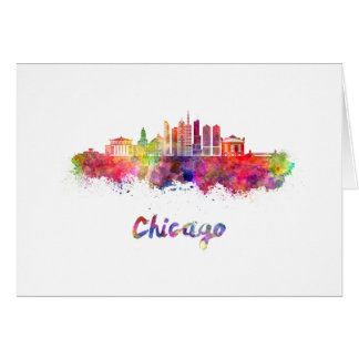 Chicago V2 skyline in watercolor Card