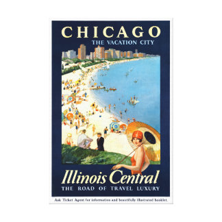 Chicago Vacation City Vintage Poster Restored Canvas Print