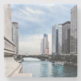 Chicago - View From Michigan Avenue Bridge Stone Coaster