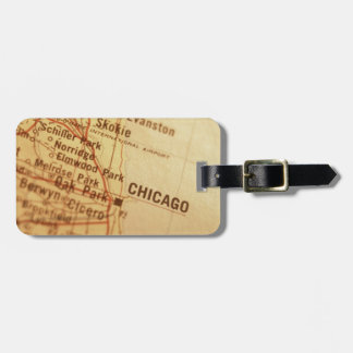 CHICAGO Vintage Map Luggage Tag