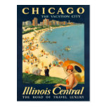 Chicago Vintage Travel Poster Postcard