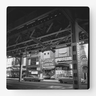 Chicago Wabash Avenue May 1961 Central Camera Cars Square Wall Clock