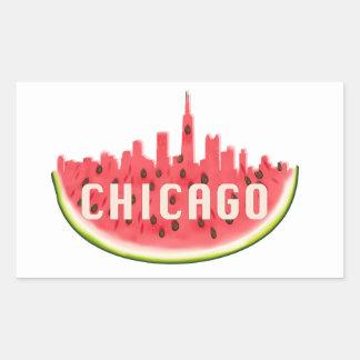Chicago Watermelon Skyline Rectangular Sticker