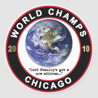 Chicago World Champs 2010 Champions Ice Hockey Round Sticker