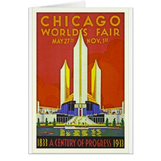 Chicago Worlds Fair 1933 Vintage Travel Poster Art Card