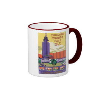 Chicago World's Fair Poster 1933 Ringer Coffee Mug