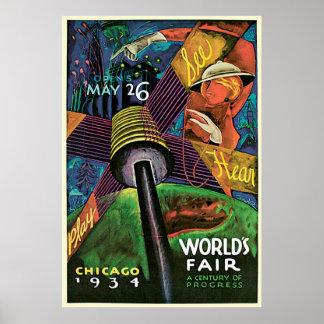 Chicago Worlds Fair Vintage Travel Tourism Poster