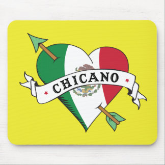 Chicano Tattoo Heart with Mexican Flag Mouse Pad
