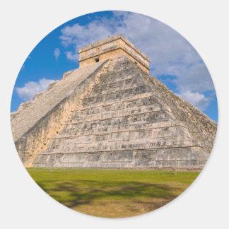 Chichen Itza Mayan Temple in Mexico Classic Round Sticker