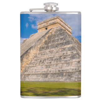 Chichen Itza Mayan Temple in Mexico Hip Flask