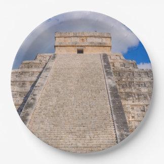 Chichen Itza Mayan Temple in Mexico Paper Plate