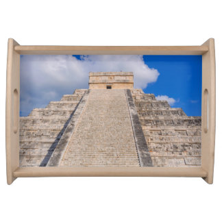 Chichen Itza Mayan Temple in Mexico Serving Tray