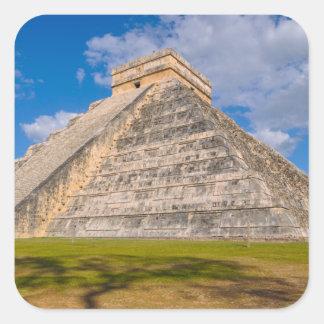 Chichen Itza Mayan Temple in Mexico Square Sticker