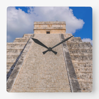 Chichen Itza Mayan Temple in Mexico Square Wall Clock