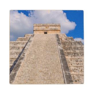 Chichen Itza Mayan Temple in Mexico Wood Coaster