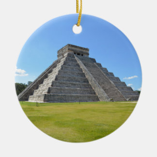 Chichen Itza Mexico Kukulkan Pyramid 7 Wonders Ceramic Ornament