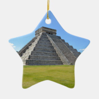 Chichen Itza Mexico Kukulkan Pyramid 7 Wonders Ceramic Star Decoration