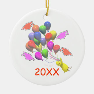 Chick and Balloons Kindergarten Graduation Christmas Ornaments