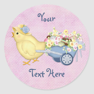 Chick and Cart Round Sticker