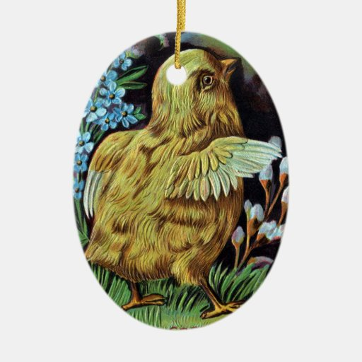 Chick and Golden Butterfly Vintage Easter Christmas Tree Ornaments