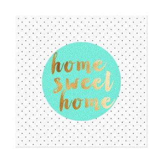 chick faux gold Home Sweet Home polka dots pattern Canvas Print