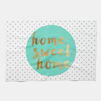 chick faux gold Home Sweet Home polka dots pattern Tea Towel