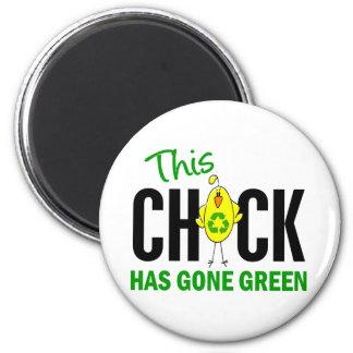 Chick Gone Green 1 Refrigerator Magnets
