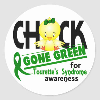 Chick Gone Green 2 Tourette's Syndrome Classic Round Sticker