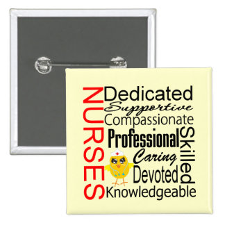 Chick Humor - Nurses Recognition Collage 15 Cm Square Badge