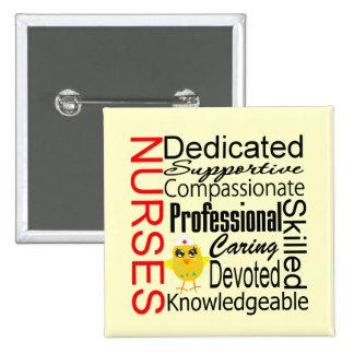 Chick Humor - Nurses Recognition Collage 15 Cm Square Badge
