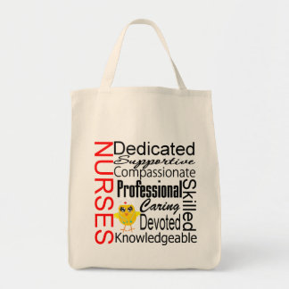Chick Humor - Nurses Recognition Collage Grocery Tote Bag