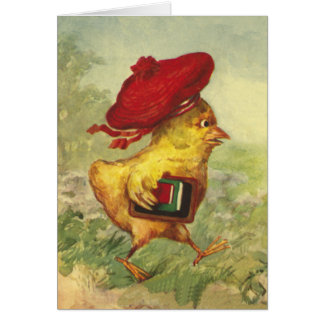 Chick In a Red Beret Goes Back to School Card