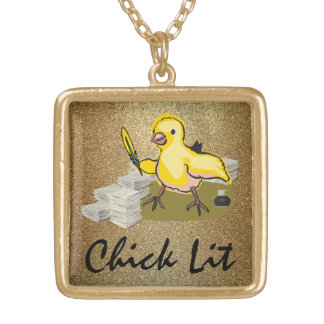 Chick Lit Writer with Paper and Feather Quill Gold Plated Necklace