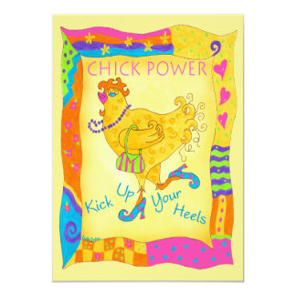 "Chick Power Kick Up Your Heels Custom Invitation 5"" X 7"" Invitation Card"