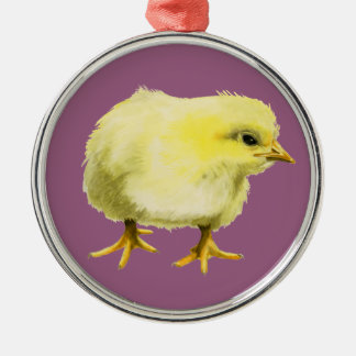 Chick Watercolor Painting Metal Ornament