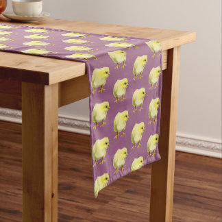 Chick Watercolor Painting Pattern Short Table Runner