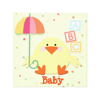 """Chick with Umbrella and ABC Blocks 12"""" x 12"""", 1.5"""" Gallery Wrapped Canvas"""