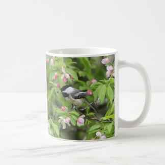Chickadee and spring blossoms coffee mug