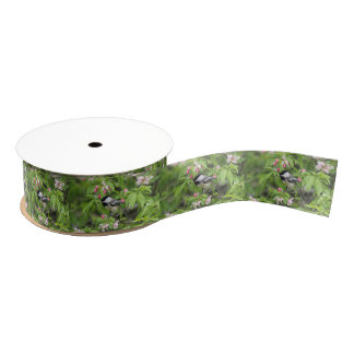 Chickadee and spring blossoms grosgrain ribbon