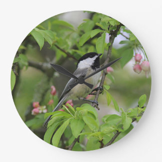 Chickadee and spring blossoms large clock