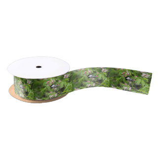 Chickadee and spring blossoms satin ribbon
