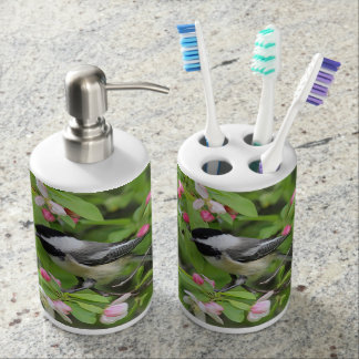 Chickadee and spring blossoms soap dispenser and toothbrush holder