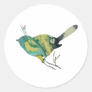 Chickadee art classic round sticker