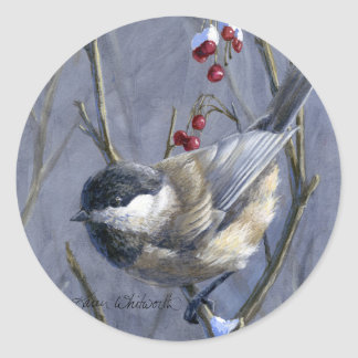Chickadee & Berries Winter Snow Classic Round Sticker