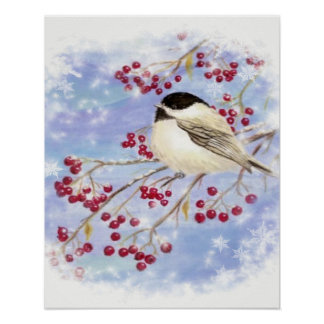 Chickadee Bird Berries Frosty Window Winter art Poster