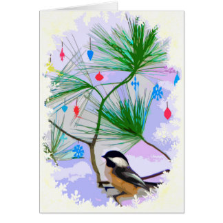 Chickadee Bird in Christmas Tree Card