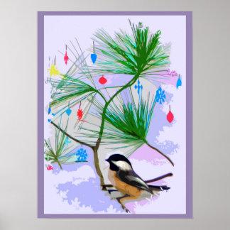 Chickadee Bird in Christmas Tree Poster