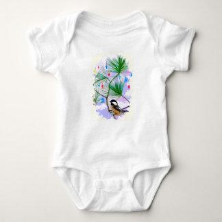 Chickadee Bird in Tree Baby Jersey Bodysuit