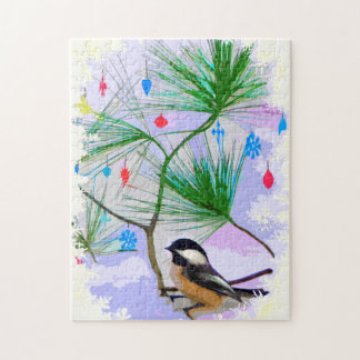 Chickadee Bird in Tree Jigsaw Puzzle