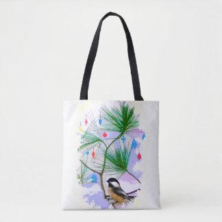 Chickadee Bird in Tree Tote Bag